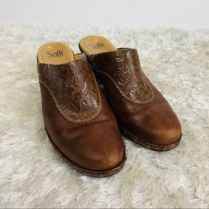 Soft Tooled Leather Mule Wedge Brown Shoe sz 10M